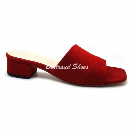 Sandales à talon carré en daim